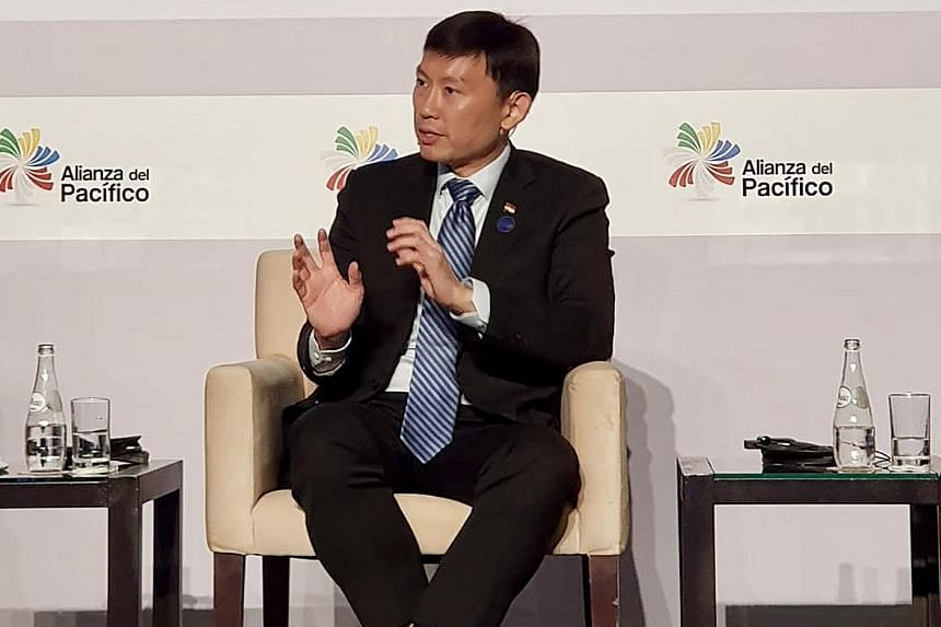 Senior Minister of State for Trade and Industry Chee Hong Tat at a seminar in Peru yesterday. PHOTO: MINISTRY OF TRADE AND INDUSTRY