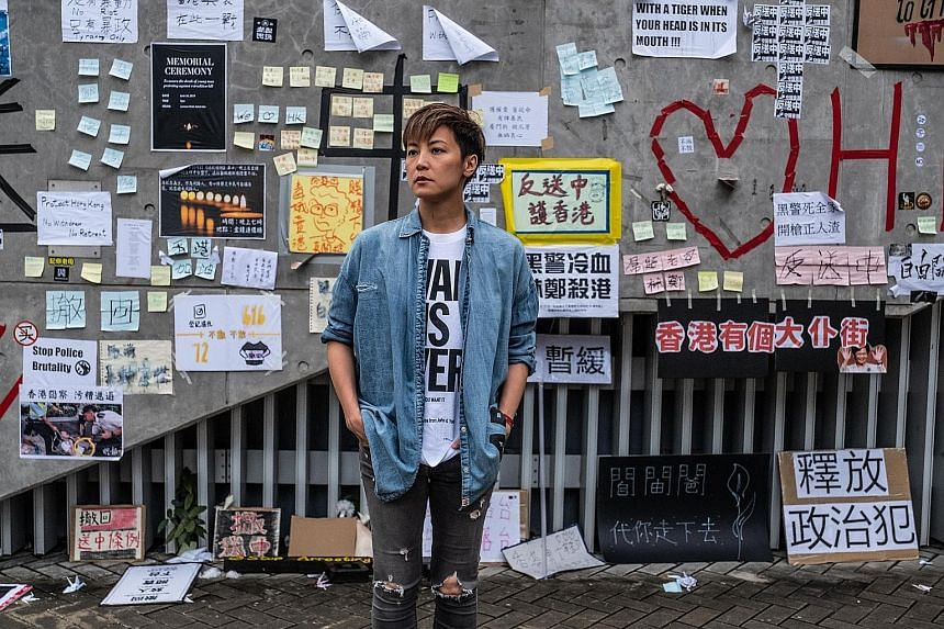 Cantopop singer Denise Ho outside the Legislative Council building in Hong Kong last month. On the front line of the city's pro-democracy movement since the sit-in street protests of the 2014 Umbrella Movement, she has been banned from performing on