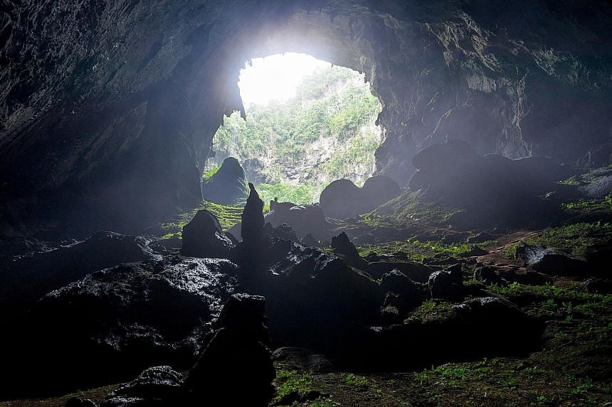 When the weather conditions are right, sunrays enter Son Doong Cave via openings, illuminating its dark interior.