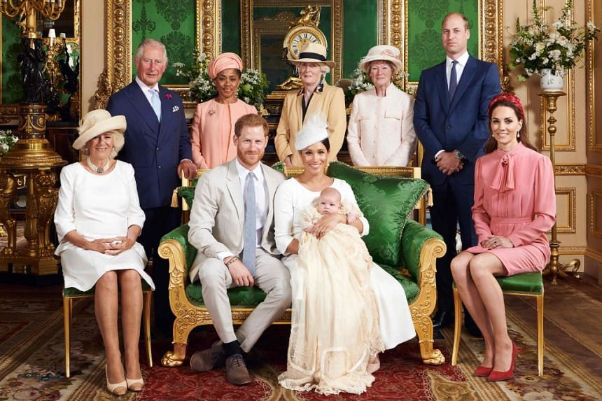 The official Christening photo featuring Harry and Meghan holding son Archie, flanked by (from left) Camilla, Duchess of Cornwall, Prince Charles, Prince of Wales, Ms Doria Ragland, Lady Jane Fellowes, Lady Sarah McCorquodale, Prince William, Duke of