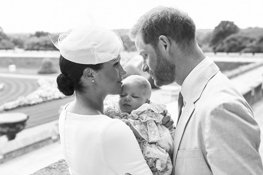 Meghan, Harry and baby Archie in the official photograph released for Archie's christening.