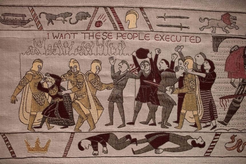Embroidered scenes on the tapestry depicting the hit television series Game Of Thrones.