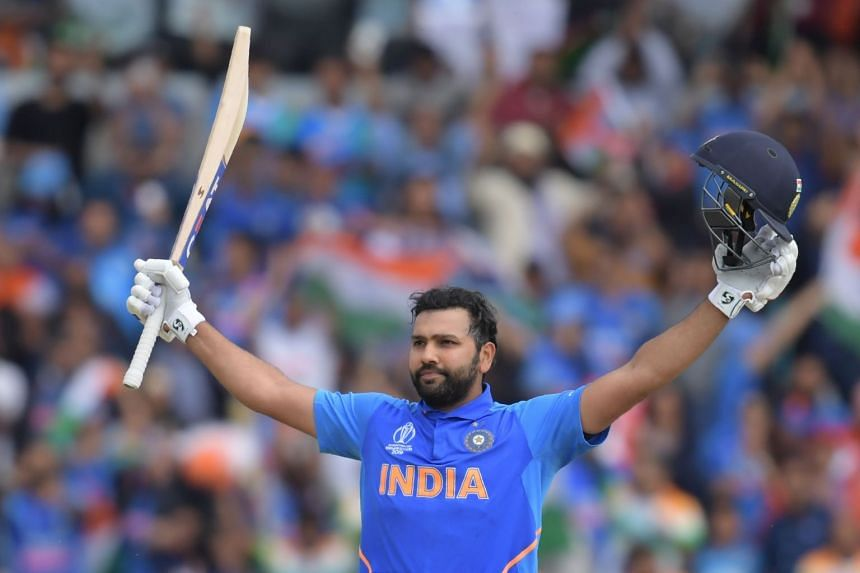India's Rohit Sharma celebrates after reaching his century against Sri Lanka.