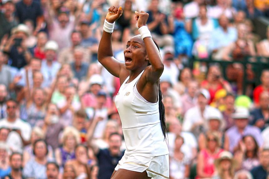 """Cori in ecstasy after beating Polona Hercog in the Wimbledon round of 32 on Friday. She says losing tough matches since she took up tennis at age eight """"definitely prepared me for today""""."""