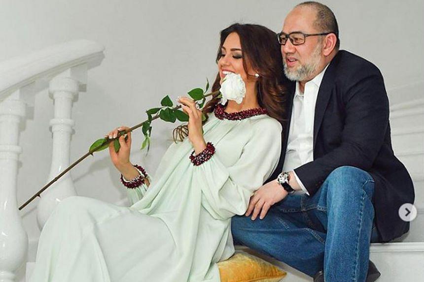 Sultan Muhammad V and his wife Oksana Voevodina, who now also goes by Rihana Oksana Petra.