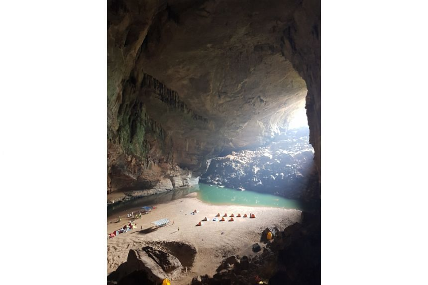 The journey to Son Doong Cave involved two days of intense trekking and a night of camping in Hang En Cave (above), the third latest cave in the world.