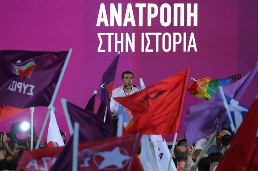 Greek Prime Minister and leader of leftist Syriza party Alexis Tsipras addresses supporters during a pre-election rally in Athens, Greece, on July 5, 2019.