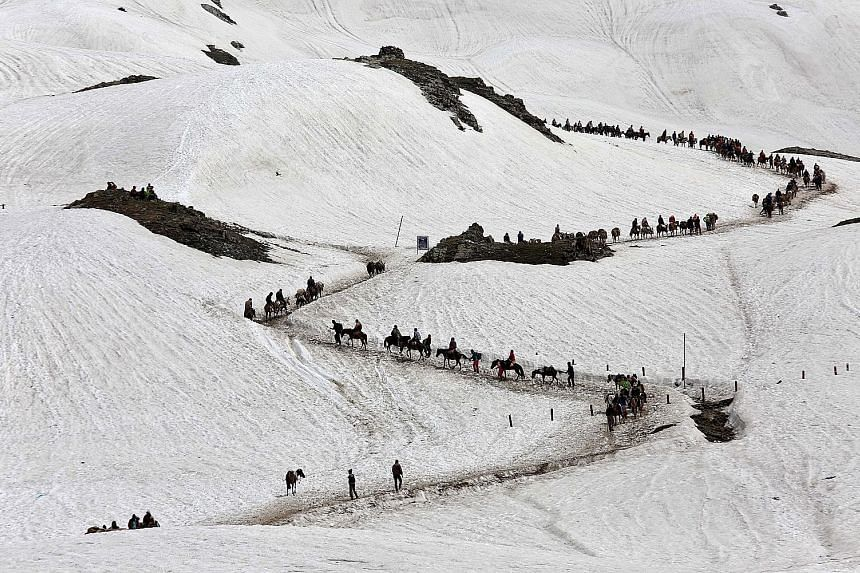 More than 2,000 Hindu pilgrims heading towards a cave shrine in India's predominantly Muslim Jammu and Kashmir state amid heightened security. The Amarnath shrine, dedicated to the god Shiva, is located at a height of 3,888m in the Himalayas. More th