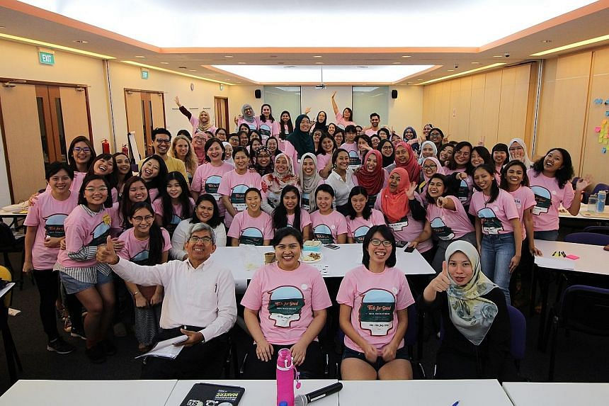 Dr Yaacob Ibrahim, an MP for Jalan Besar GRC, with judges, mentors and participants at Singapore's first women-only hackathon last year organised by volunteer-run group The Codette Project. The second edition of the hackathon this weekend will take p