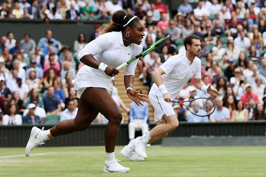 Serena Williams partnering Britain's Andy Murray in their first-round mixed doubles match against Chile's Alexa Guarachi and Germany's Andreas Mies on Saturday, winning 6-4, 6-1. It was the American's second victory of the day.