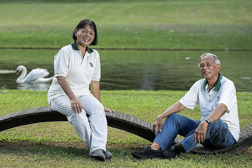 Mr Hamid Sudi and Ms Poh Joo Nam are part of the team working hard to maintain the greenery at the Istana. The 65-year-old Mr Hamid, who has tended to the grounds for 47 years, built an enclosure made of natural materials for the swans at the Swan Po