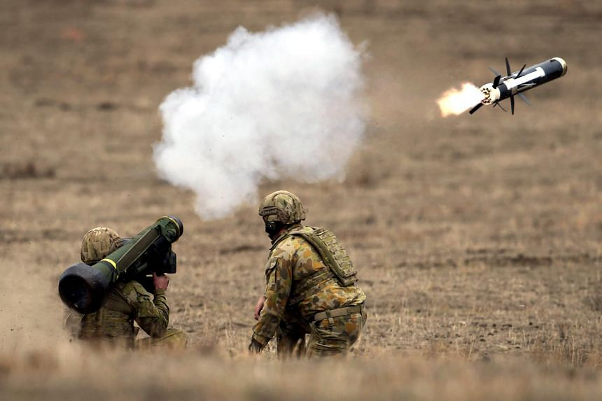 Australian soldiers fire an anti-tank missile in a live demonstration at the Puckapunyal Military Base, 100km north of Melbourne, Australia on May 9, 2019.