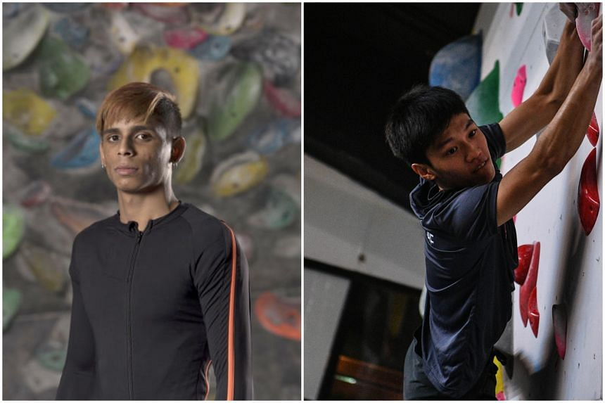 Emmanuel Ryan Paul (left) and Mark Chan have been able to improve their climbing techniques using a smart, motion capture climbing suit from JLL.