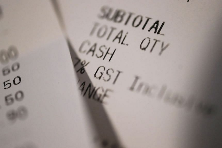 A receipt indicating the cost of GST.