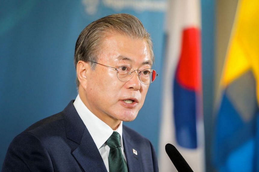 In his first public remarks on Japan's restriction on exports to South Korea, South Korea's President Moon Jae-in said the issue had become a concern for the world as it put a global supply chain at risk.
