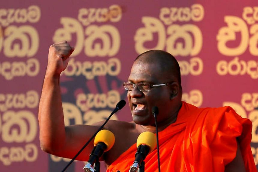 The influential chief of the Bodu Bala Sena (BBS), Galagoda Aththe Gnanasara, called on Sri Lanka's 10,000 Buddhist temples to help win votes for candidates from the Sinhala Buddhist majority.