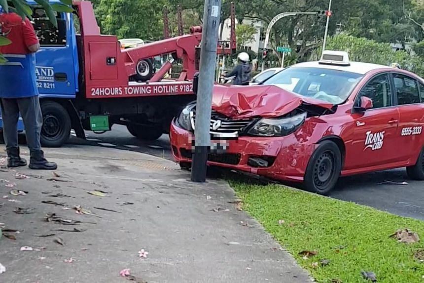 Two motorists, including a 57-year-old taxi driver, were taken to Khoo Teck Puat Hospital.