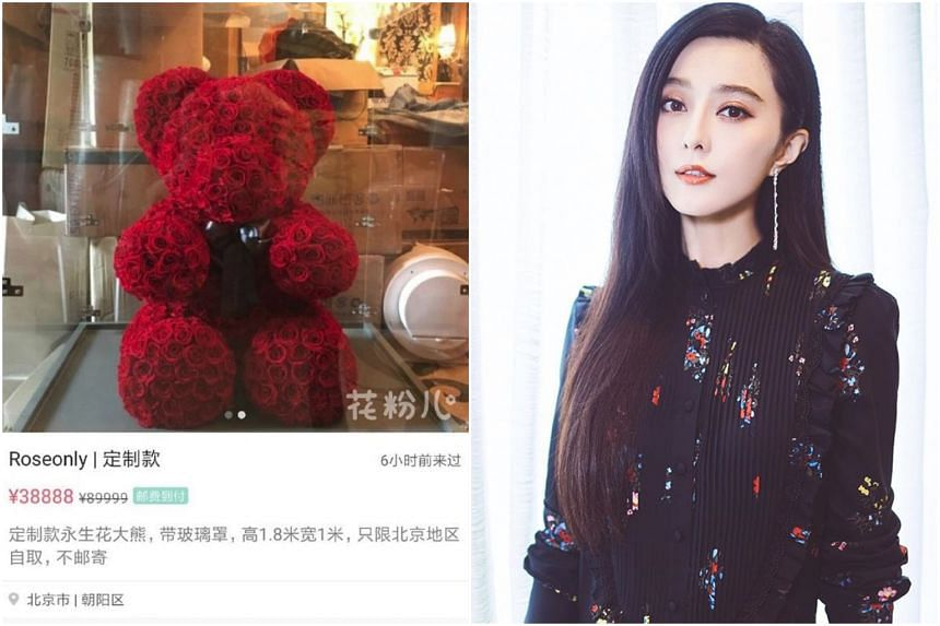 Netizens noticed that a huge teddy bear made from preserved roses was put up for sale at an online second-hand shop for 38,888 yuan (S$7,700).