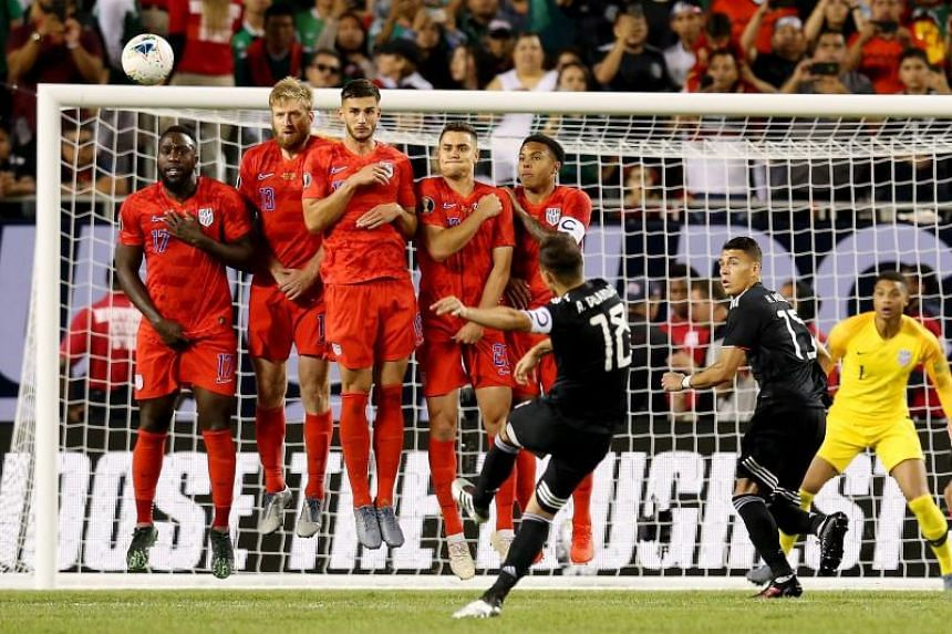 Andres Guardado of Mexico attempts a free kick in the second half against the US during the 2019 CONCACAF Gold Cup Final at Soldier Field on July 7, 2019.