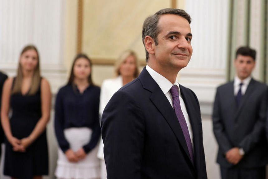 Leader of New Democracy conservative party and winner of Greece's general election Kyriakos Mitsotakis at his swearing-in ceremony as prime minister at the Presidential Palace in Athens on July 8, 2019.