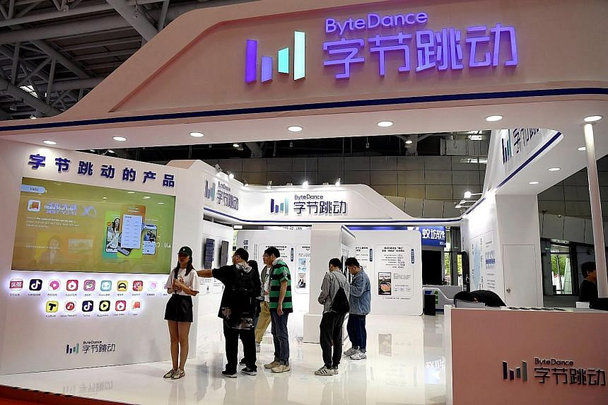 Visitors at the Bytedance Technology booth at the Digital China exhibition in Fuzhou, Fujian province. Bytedance, the force behind short-video app TikTok and other addictive services, sports a valuation of US$75 billion (S$102 billion), the highest a