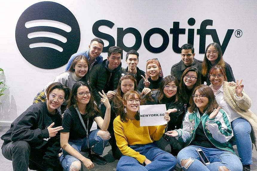 NewYork.SG participants at a Spotify workshop in March last year. Participants in the career development scheme are flown to New York, where each is assigned an adviser who sets weekly challenges and figures out what the person wants to achieve. They