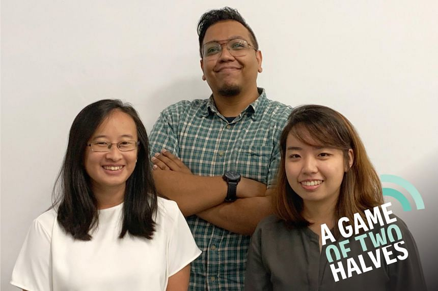 Sports podcast host Sazali Abdul Aziz (centre) is joined by his ST colleagues - reporters Nicole Chia (left) and Kimberly Kwek - as they talk about women who have recently made waves in sports.