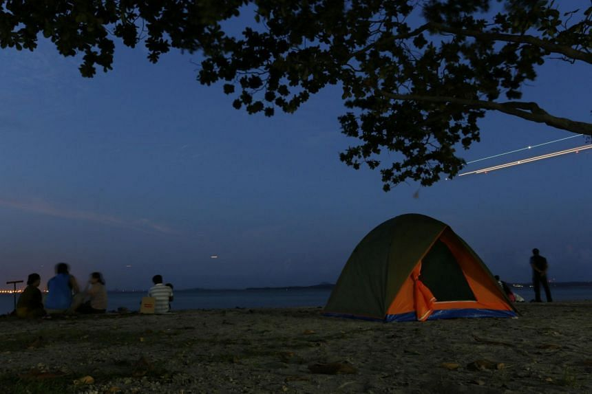 Campers at the Changi Beach Park.