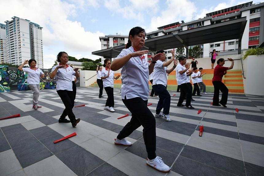 Members of a Taiji interest group holding a demonstration at the rooftop of Teck Ghee Community Club during its official opening on Jan 13. The upgraded community club now has facilities such as the Wellness Centre, meant as a space for elderly resid