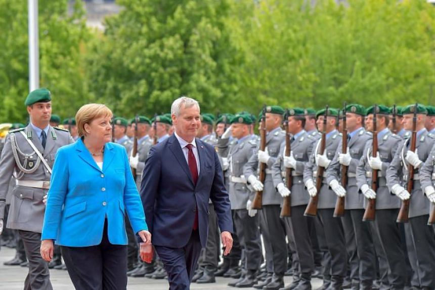 German Chancellor Angela Merkel was seen shaking as she met Finland's visiting prime minister on July 10, 2019.