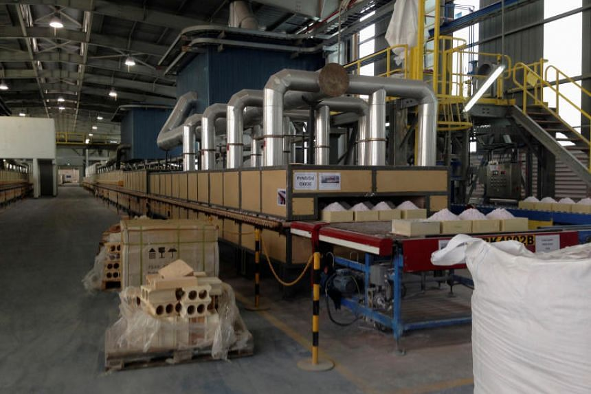Rare earth oxides in the final stage of production in a plant in Gebeng, Malaysia. The rare earth industry could help Malaysia attract investments of up to RM100 billion (S$33 billion) over the next 10 years.