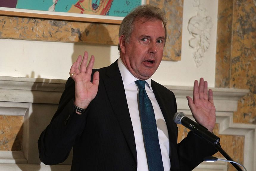 Darroch speaks during an annual dinner of the National Economists Club at the British Embassy in Washington.