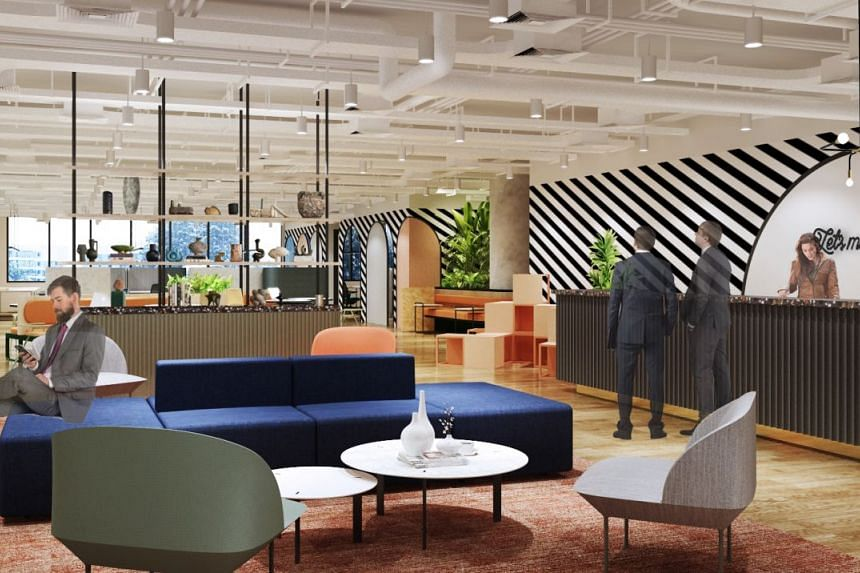 An artist's impression of the reception area at JustCo Manulife Centre. The co-working centre will take up more than 50,000 square feet and occupy two levels of the building.