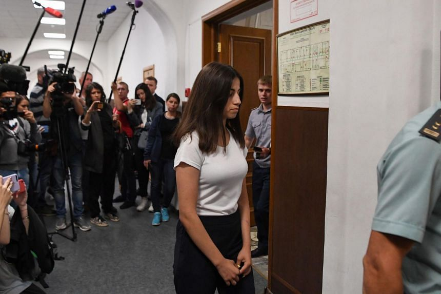 Angelina Khachaturyan, one of three teenage sisters accused of murdering their father, attending a hearing at a court in Moscow, on June 26, 2019.