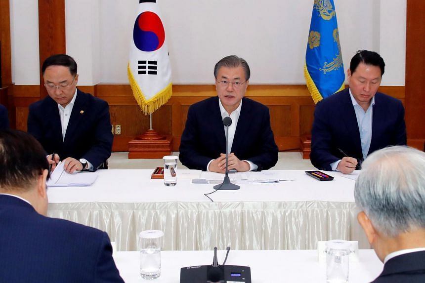 South Korean President Moon Jae-in warned top business leaders of an extended battle with Japan over export controls during a meeting at the Presidential Blue House in Seoul on July 10, 2019.