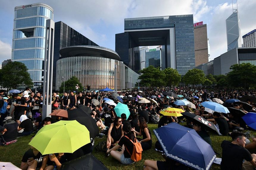 Protesters attend a demonstration in Hong Kong on June 16, 2019.