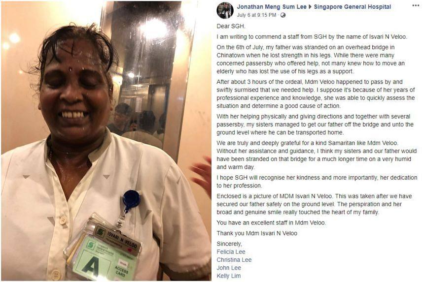 Singapore General Hospital housekeeper Isvari N Veloo was commended for helping a 90-year-old man who was stranded on an overhead bridge.