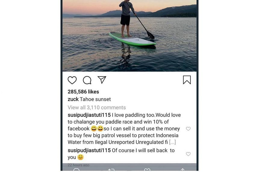 Maritime Affairs and Fisheries Minister Susi Pudjiastuti has challenged Mr Mark Zuckerberg to a race after the Facebook Inc founder posted a picture of himself paddling on Lake Tahoe.