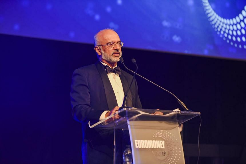 DBS group chief executive Piyush Gupta receiving Euromoney's World's Best Bank award in London on July 10, 2019.