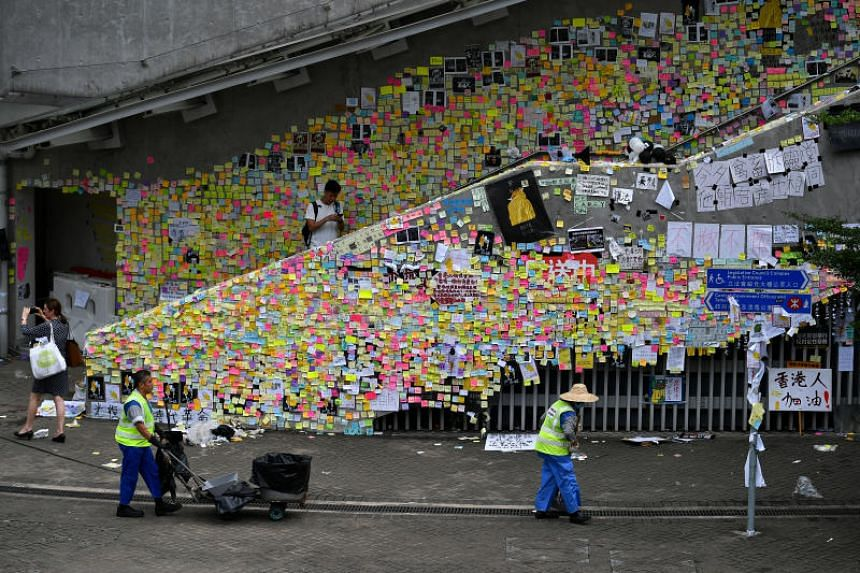 Protest notes on Lennon Wall near Hong Kong's central government offices in Admiralty on July 2, 2019.
