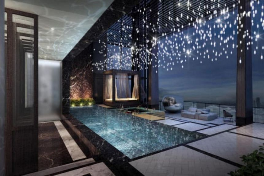 """The five-bedroom """"bungalow in the sky"""" spans more than 21,000 sq feet from the 62nd to 64th floors, and comes with its own swimming pool, cabana, bar jacuzzi, and entertainment areas."""