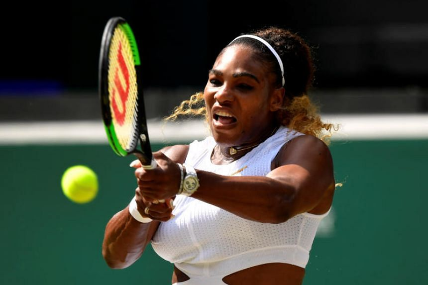 Serena Williams of the US in action during her semi final match against Czech Republic's Barbora Strycova at the All England Lawn Tennis and Croquet Club, London, Britain on July 11, 2019.