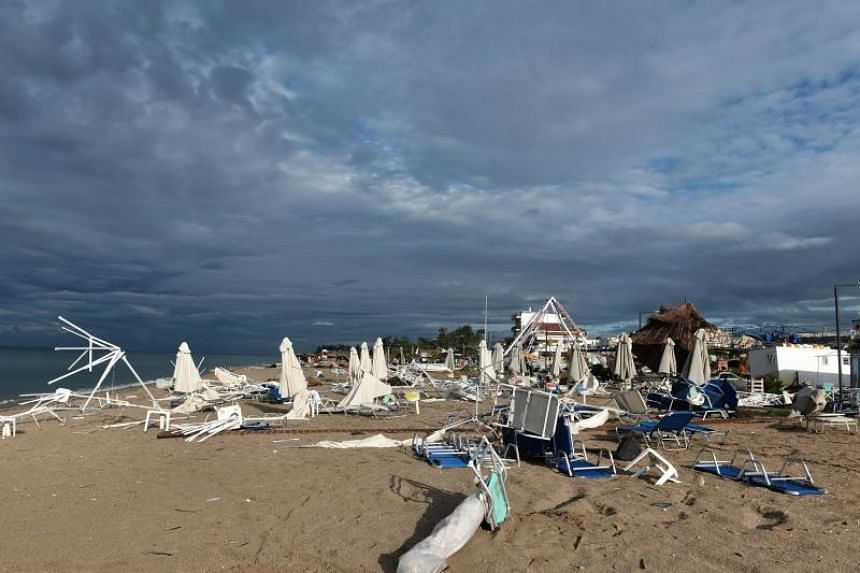 Strong winds and hail on July 10 tore into the beach front of Halkidiki region, one of Greece's most popular tourist areas, terrifying thousands of holidaymakers caught in the open.