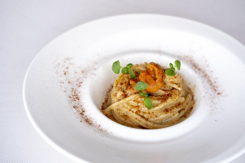 Spaghettoni with Fresh Sea Urchin and Bottarga with Anchovy Sauce from The Lighthouse.