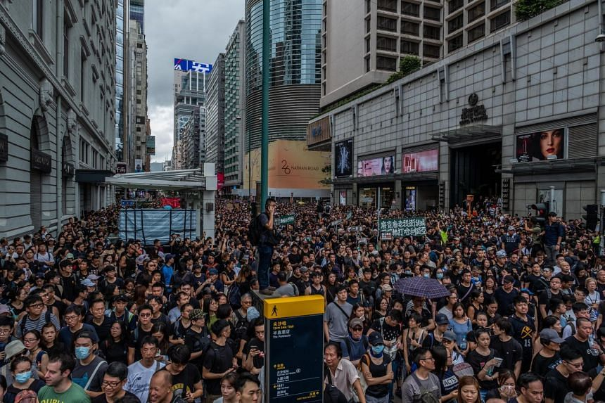 Protesters marching in Hong Kong, on July 7, 2019.