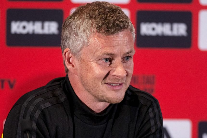 Manchester United's coach Ole Gunnar Solskjaer attends a press conference ahead of the team's pre-season friendly football matches against Perth Glory and Leeds United at Optus Stadium in Perth on July 10, 2019.