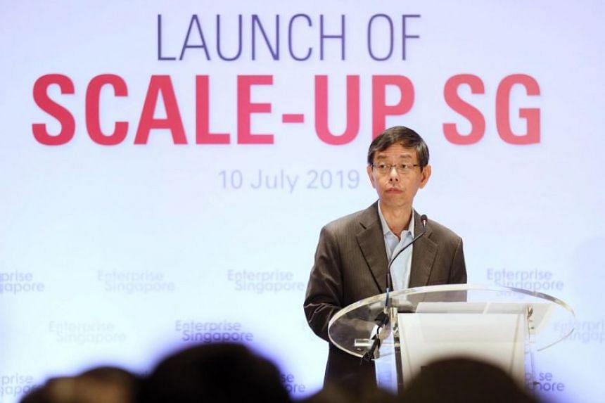Enterprise Singapore Chairman Peter Ong speaking at the launch of Scale-up SG at Conrad Centennial Hotel, July 10, 2019.
