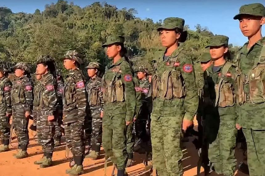 A still from a video about the Arakan Army posted on YouTube. The Ministry of Home Affairs said the people investigated provided regular financial support to the armed group that has conducted violent attacks in Myanmar, with one giving regular month