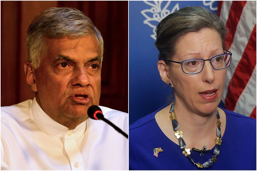 Sri Lanka Prime Minister Ranil Wickremesinghe (left) told Parliament on July 10 that the proposed agreement was not a military pact while US Ambassador Alaina Teplitz said last week that there were no plans to set up a military base.