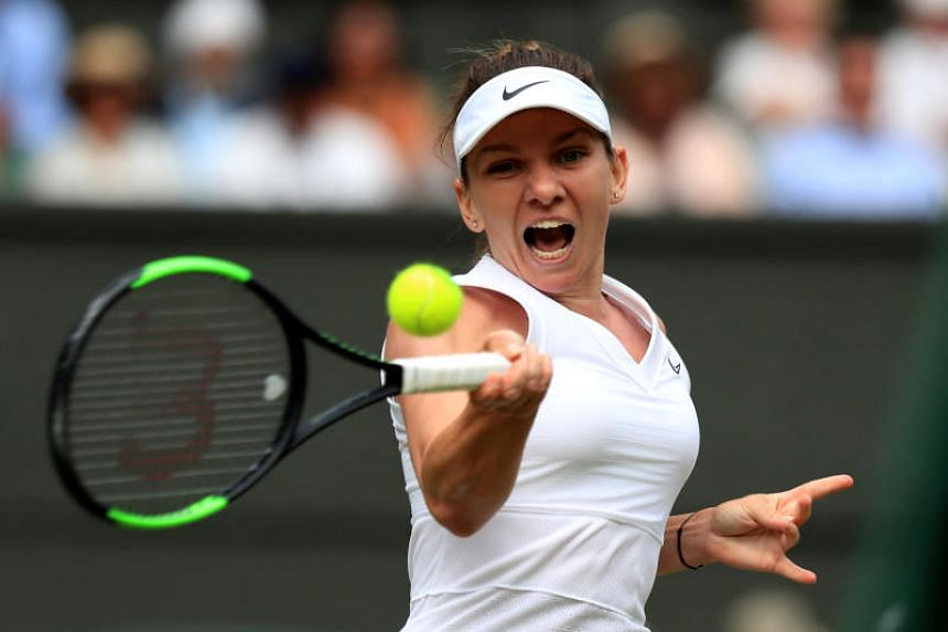 Romanian Simona Halep (above) awaits the winner of the second semi-final between seven-time Wimbledon champion Serena Williams and the unseeded Barbora Strycova of the Czech Republic.